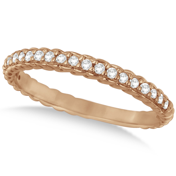 Thin Band Stackable Prong Set Diamond Ring 14k Rose Gold (0.20ct)