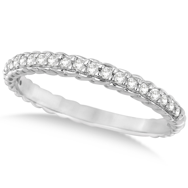 Thin Band Stackable Prong Set Diamond Ring 14k White Gold (0.20ct)