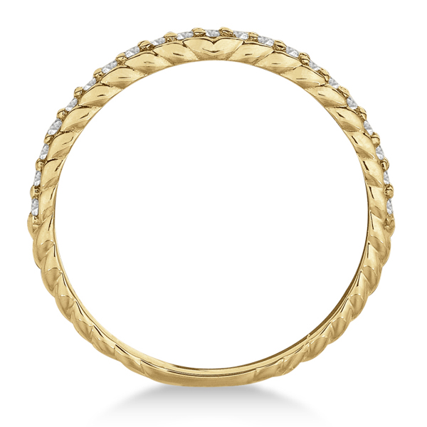 Thin Band Stackable Prong Set Diamond Ring 14k Yellow Gold (0.20ct)