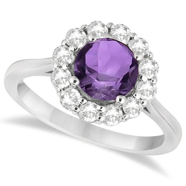 Halo Diamond Accented and Amethyst Lady Di Ring 14K White Gold (2.14ct)