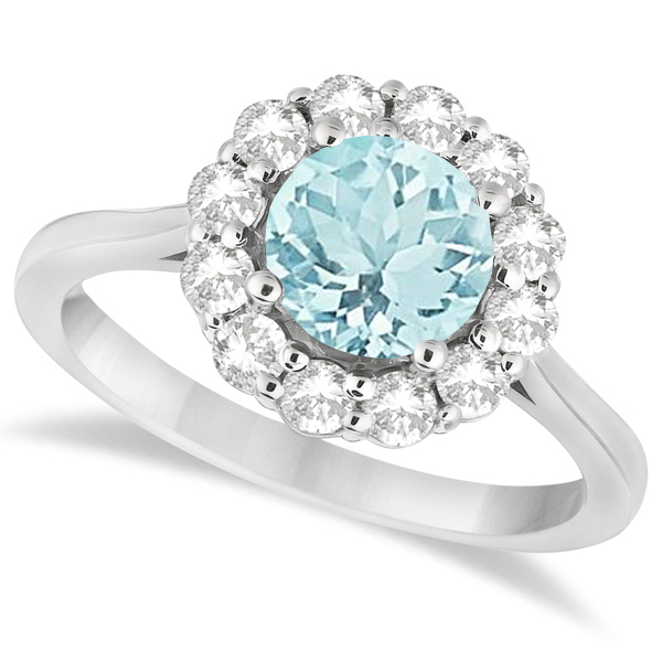 Halo Diamond Accented and Aquamarine Lady Di Ring 14K White Gold (2.14ct)