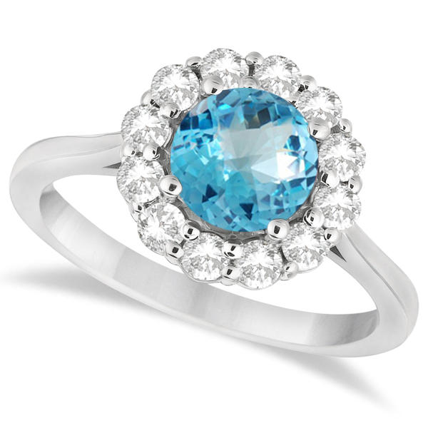 Halo Diamond Accented and Blue Topaz Lady Di Ring 18k White Gold (2.14ct)
