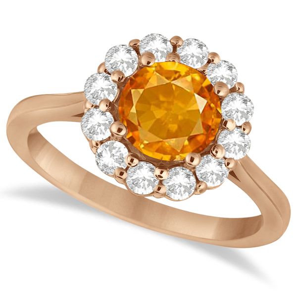 Halo Diamond Accented and Citrine Lady Di Ring 14K Rose Gold (2.14ct)