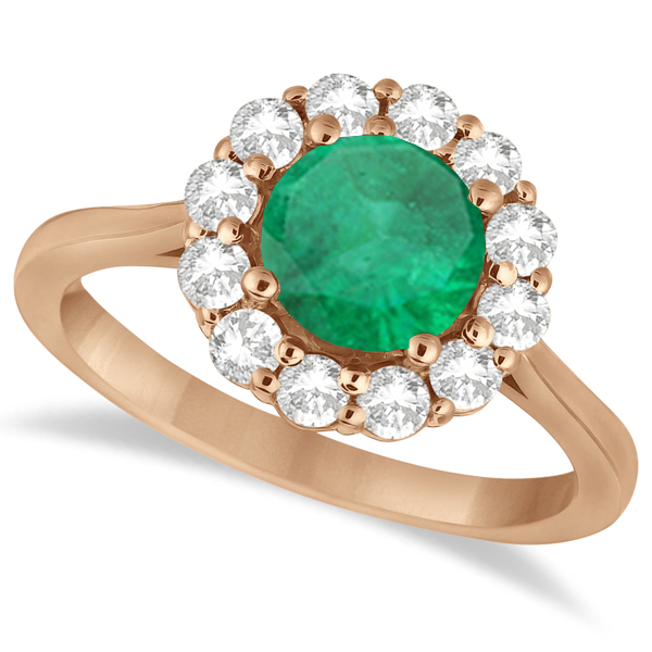 Halo Diamond Accented and Emerald Lady Di Ring 18k Rose Gold (2.14ct)