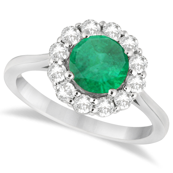 Halo Diamond Accented and Emerald Lady Di Ring 18k White Gold (2.14ct)