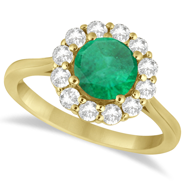 Halo Diamond Accented and Emerald Lady Di Ring 18k Yellow Gold (2.14ct)
