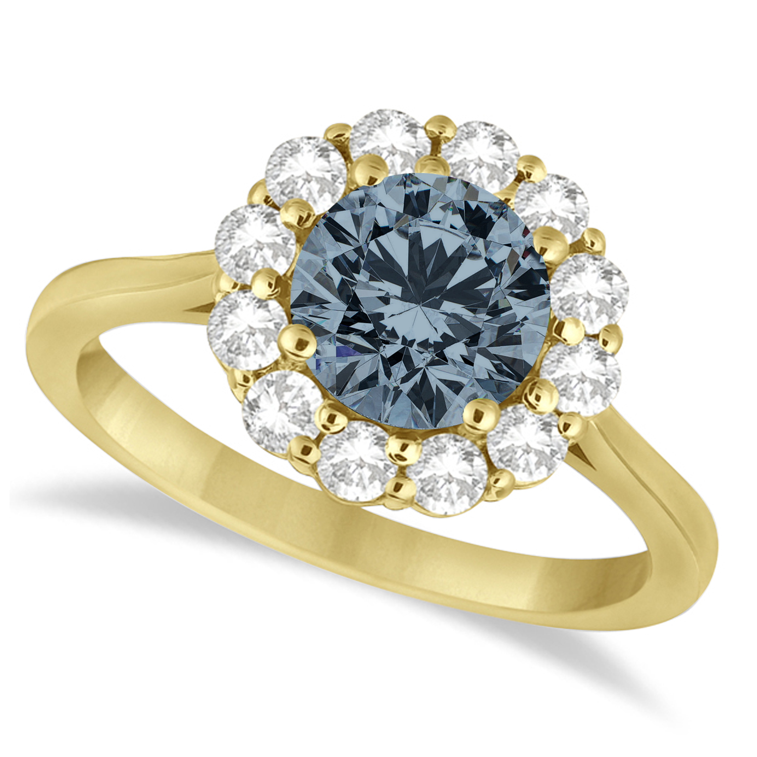 Halo Diamond Accented and Gray Spinel Lady Di Ring 14K Yellow Gold (2.14ct)