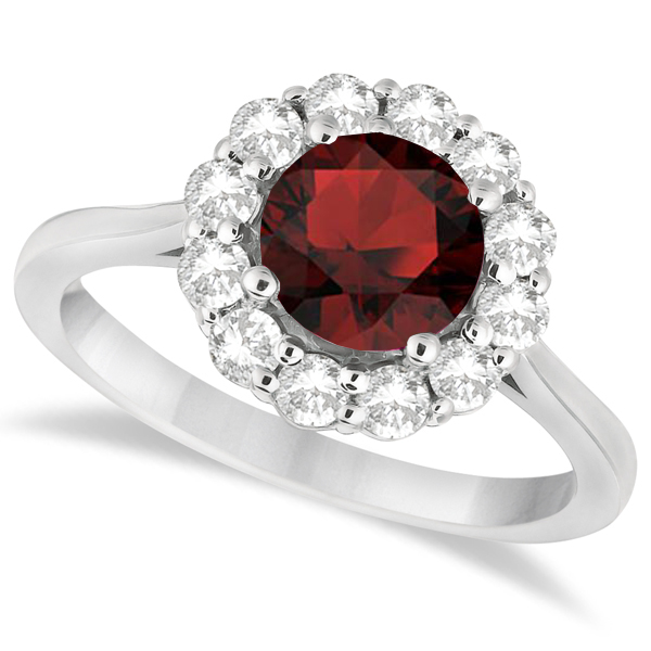 Halo Diamond Accented and Garnet Lady Di Ring 14K White Gold (2.14ct)