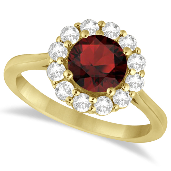 Halo Diamond Accented and Garnet Lady Di Ring 18k Yellow Gold (2.14ct)