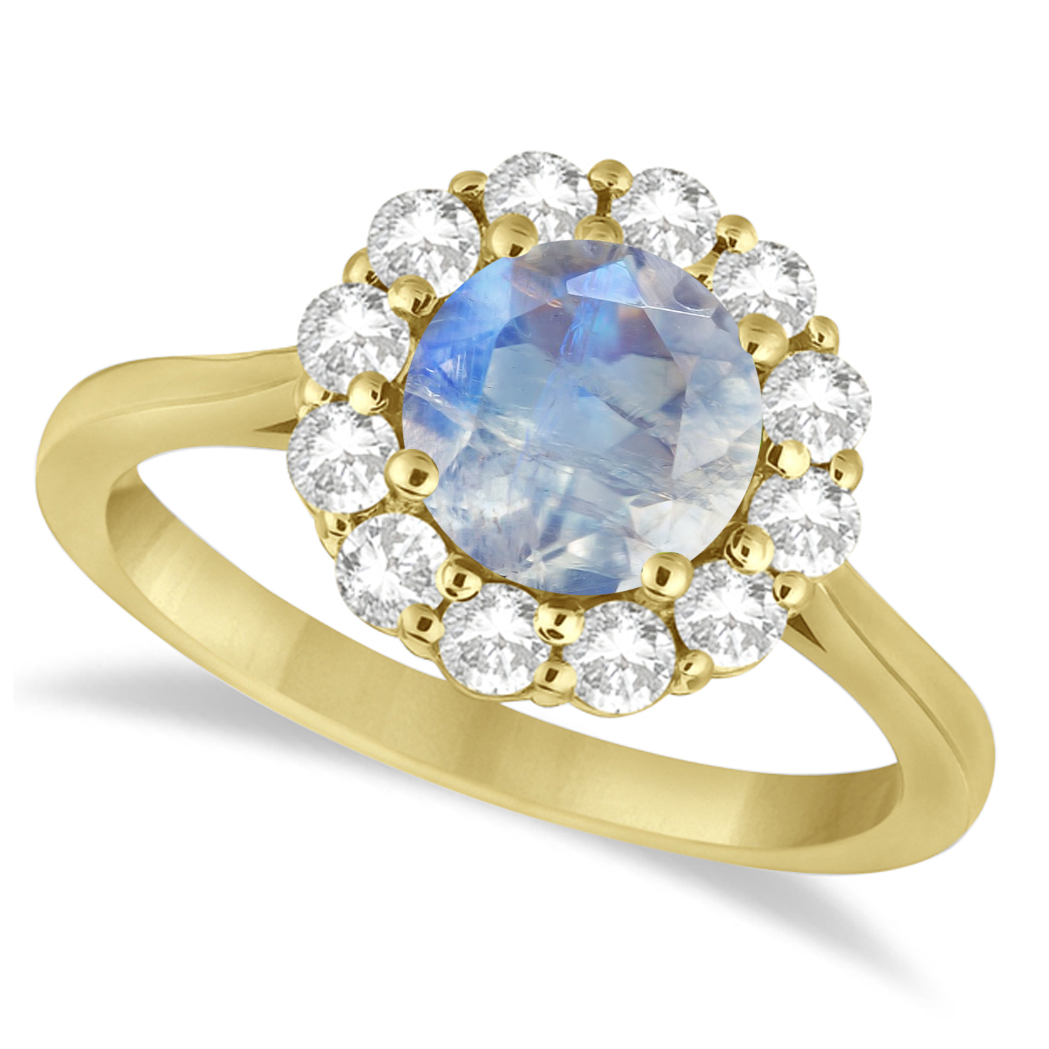 Halo Diamond Accented and Moonstone Lady Di Ring 14K Yellow Gold (2.14ct)