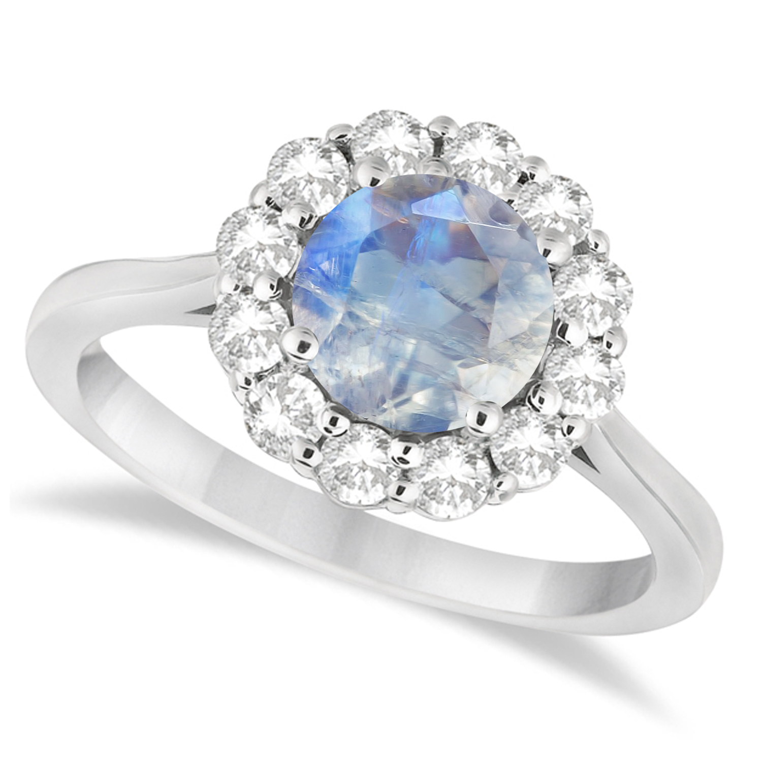 Halo Diamond Accented and Moonstone Lady Di Ring 18k White Gold (2.14ct)