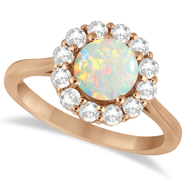 Halo Diamond Accented and Opal Lady Di Ring 18k Rose Gold (2.14ct)