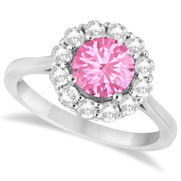 Halo Diamond Accented and Pink Tourmaline Lady Di Ring 14K White Gold (2.14ct)