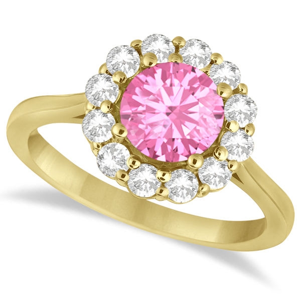 Halo Diamond Accented and Pink Tourmaline Lady Di Ring 18k Yellow Gold (2.14ct)