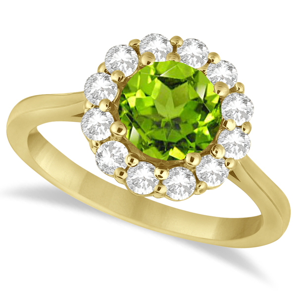 Halo Diamond Accented and Peridot Lady Di Ring 14K Yellow Gold (2.14ct)