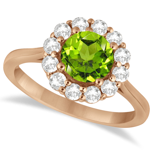 Halo Diamond Accented and Peridot Lady Di Ring 18k Rose Gold (2.14ct)