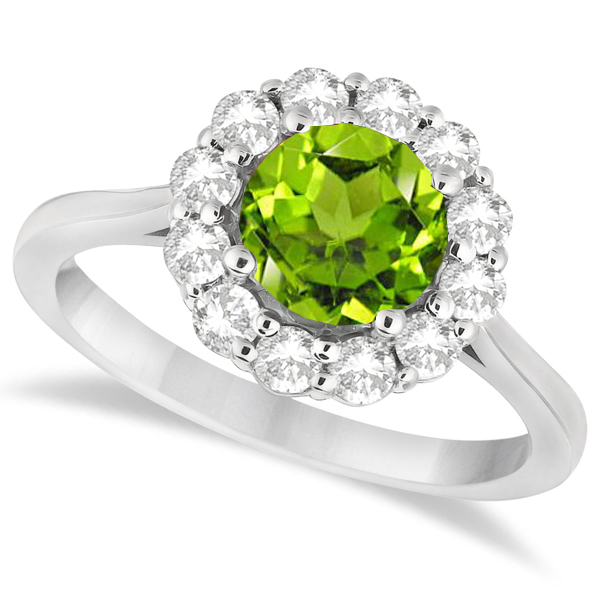 Halo Diamond Accented and Peridot Lady Di Ring 18k White Gold (2.14ct)