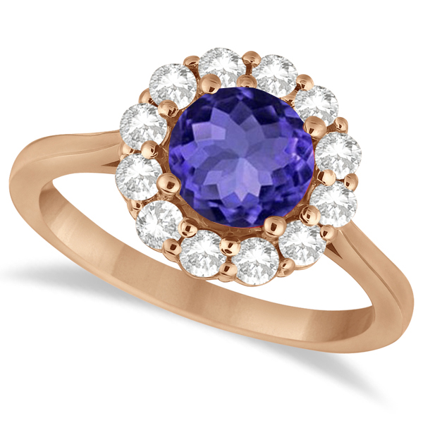 Halo Diamond Accented and Tanzanite Lady Di Ring 14K Rose Gold (2.14ct)