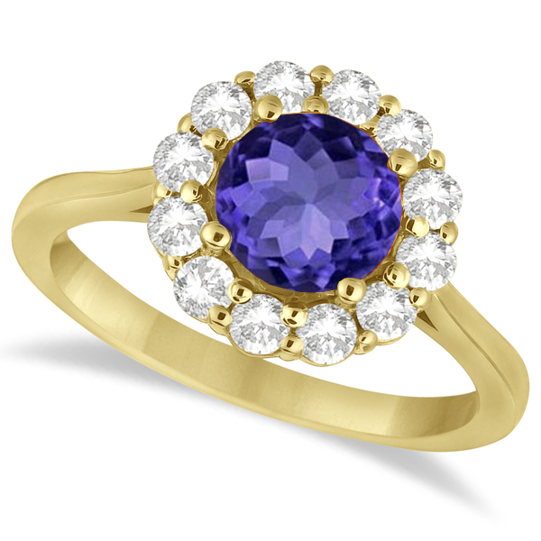 Halo Diamond Accented and Tanzanite Lady Di Ring 18k Yellow Gold (2.14ct)