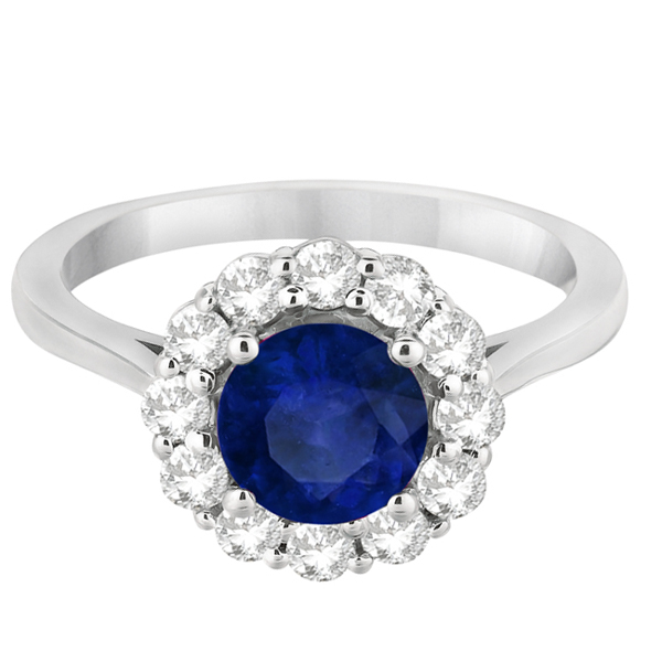 Halo Diamond Accented and Blue Sapphire Ring 14K White Gold (2.14ct)