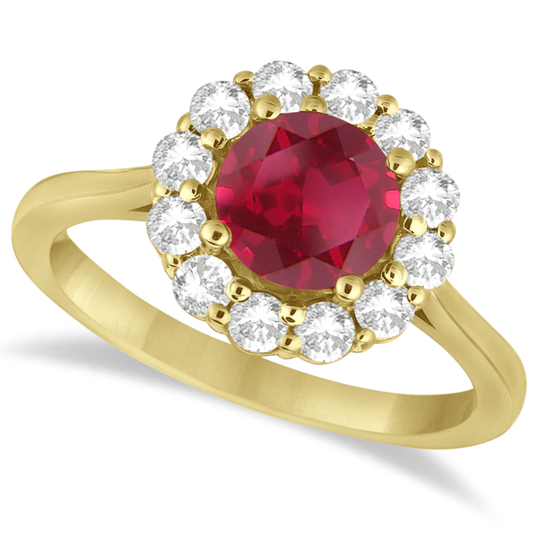 Halo Diamond Accented and Ruby Ring 14K Yellow Gold (2.14ct)