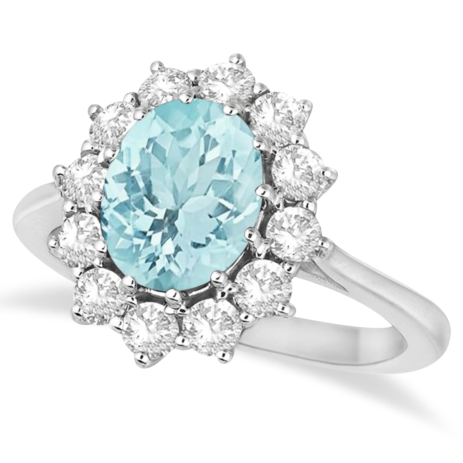 Oval Aquamarine & Diamond Accented Ring 14k White Gold 3