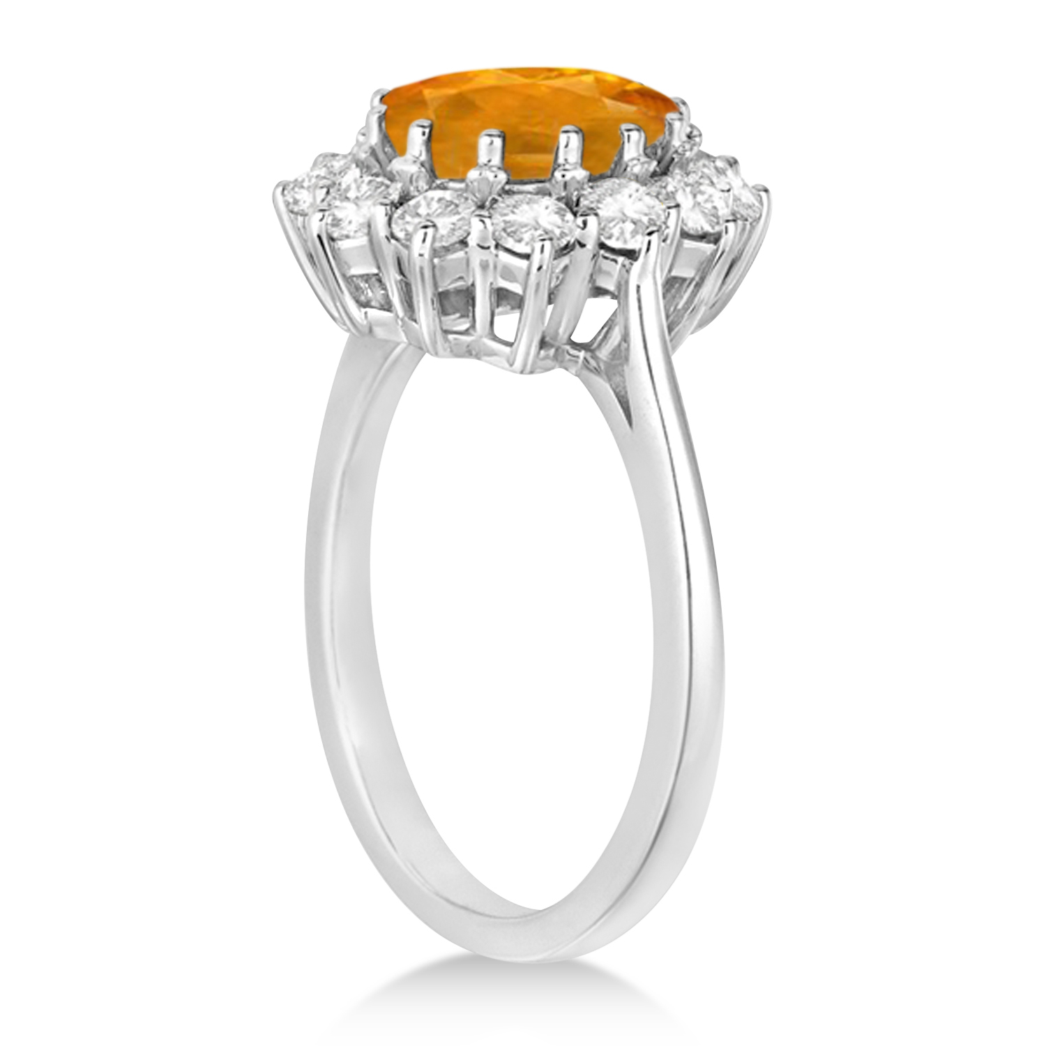 Oval Citrine and Diamond Ring 14k White Gold (3.60ctw)