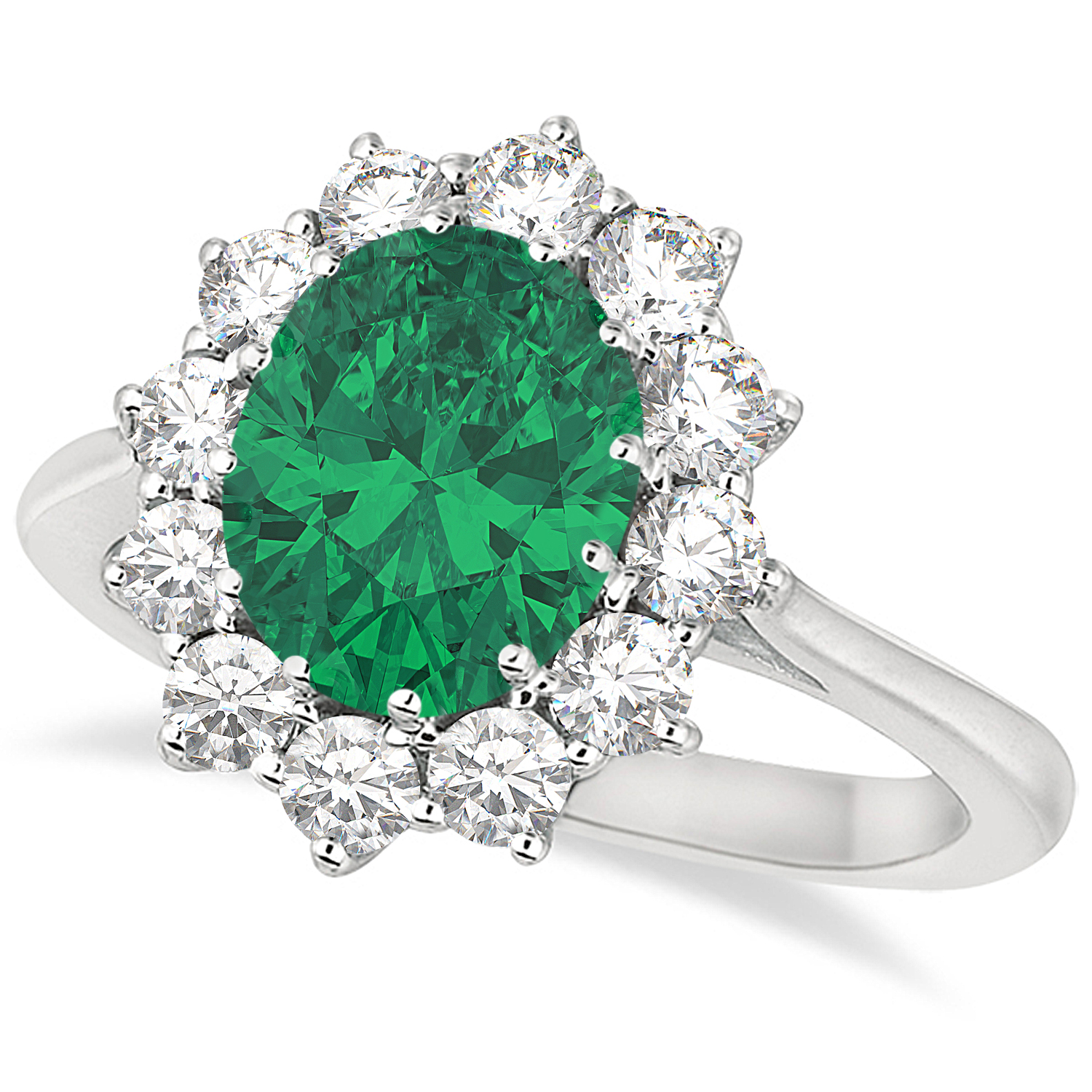 Oval Emerald & Diamond Accented Ring 18k White Gold (3