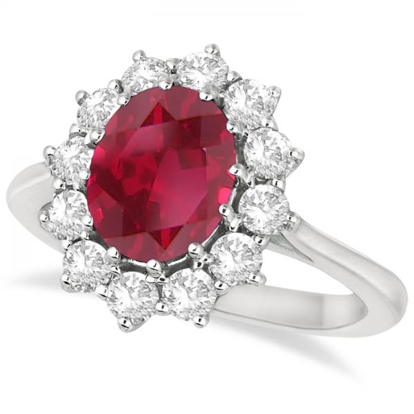 Oval Ruby and Diamond Ring 14k White Gold (3.60ctw)