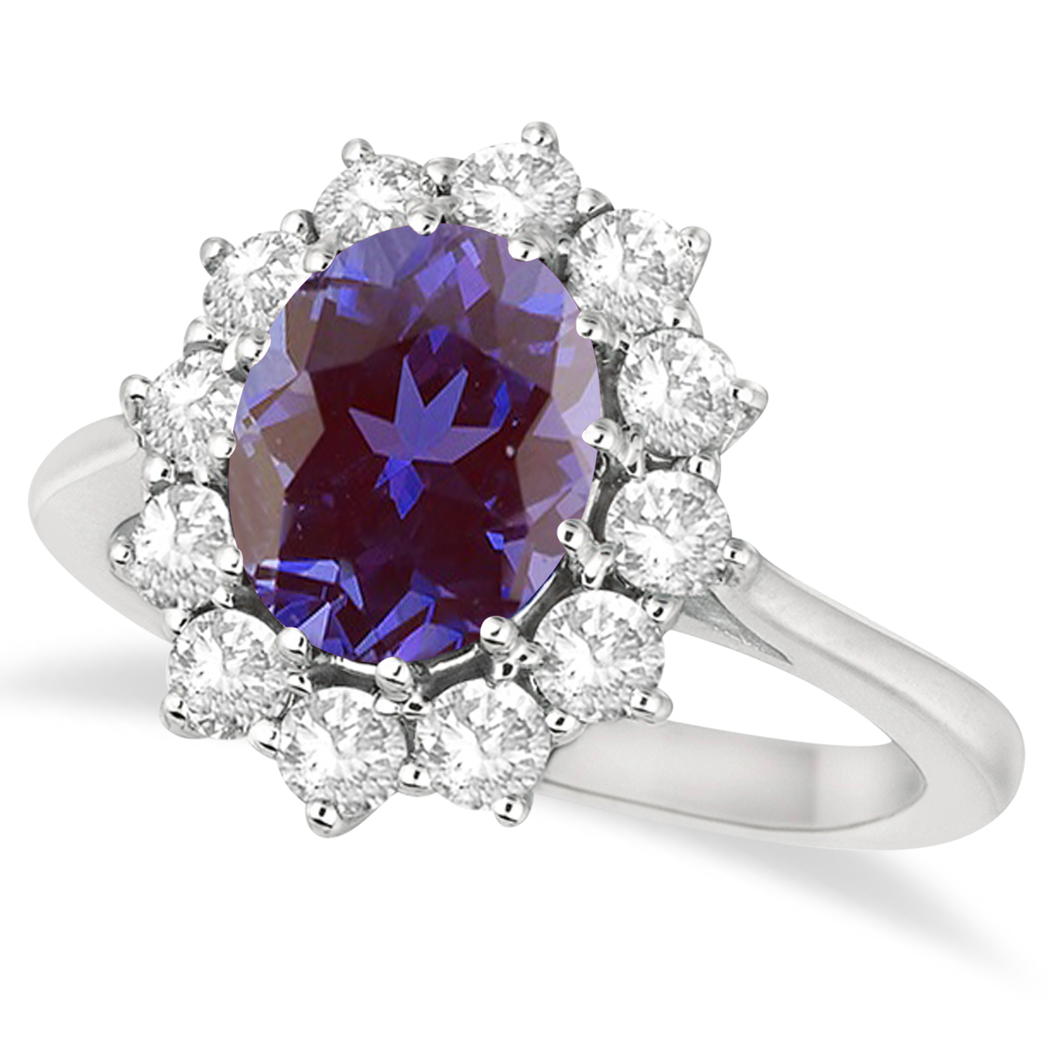 Oval Lab Alexandrite and Diamond Ring 14k White Gold (3.60ctw)