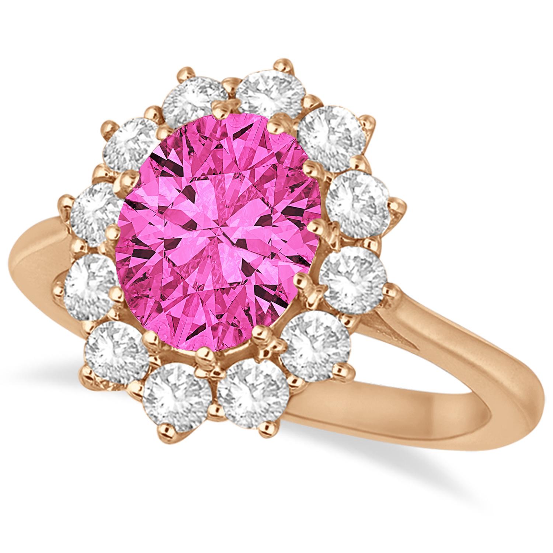 Oval Pink Tourmaline and Diamond Lady Di Ring 14k Rose Gold 3.60ct