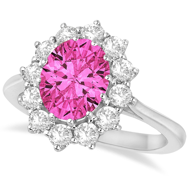 Oval Pink Tourmaline and Diamond Lady Di Ring 14k White Gold 3.60ct ...