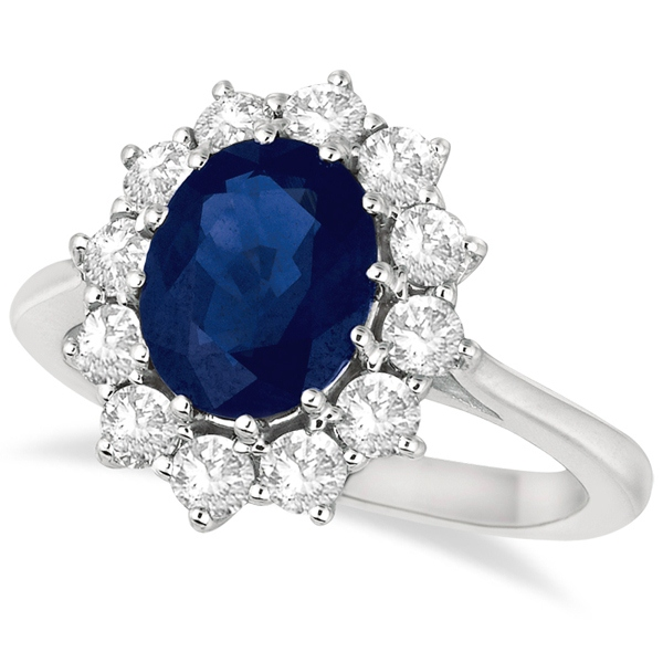 3.60Ct Oval Cut Blue Sapphire Diamond Halo Engagement Ring 14K White Gold Finish
