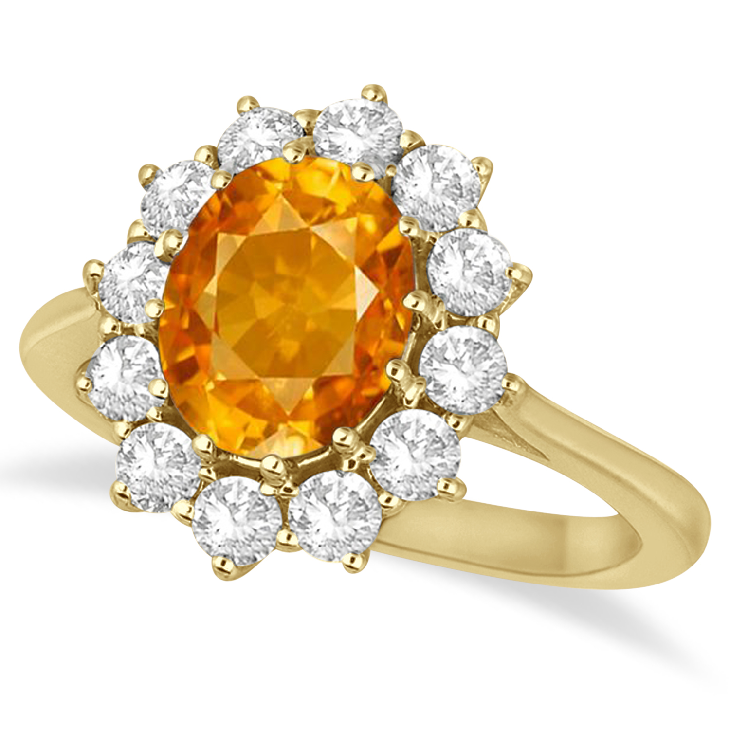 Oval Citrine and Diamond Ring 14k Yellow Gold (3.60ctw)
