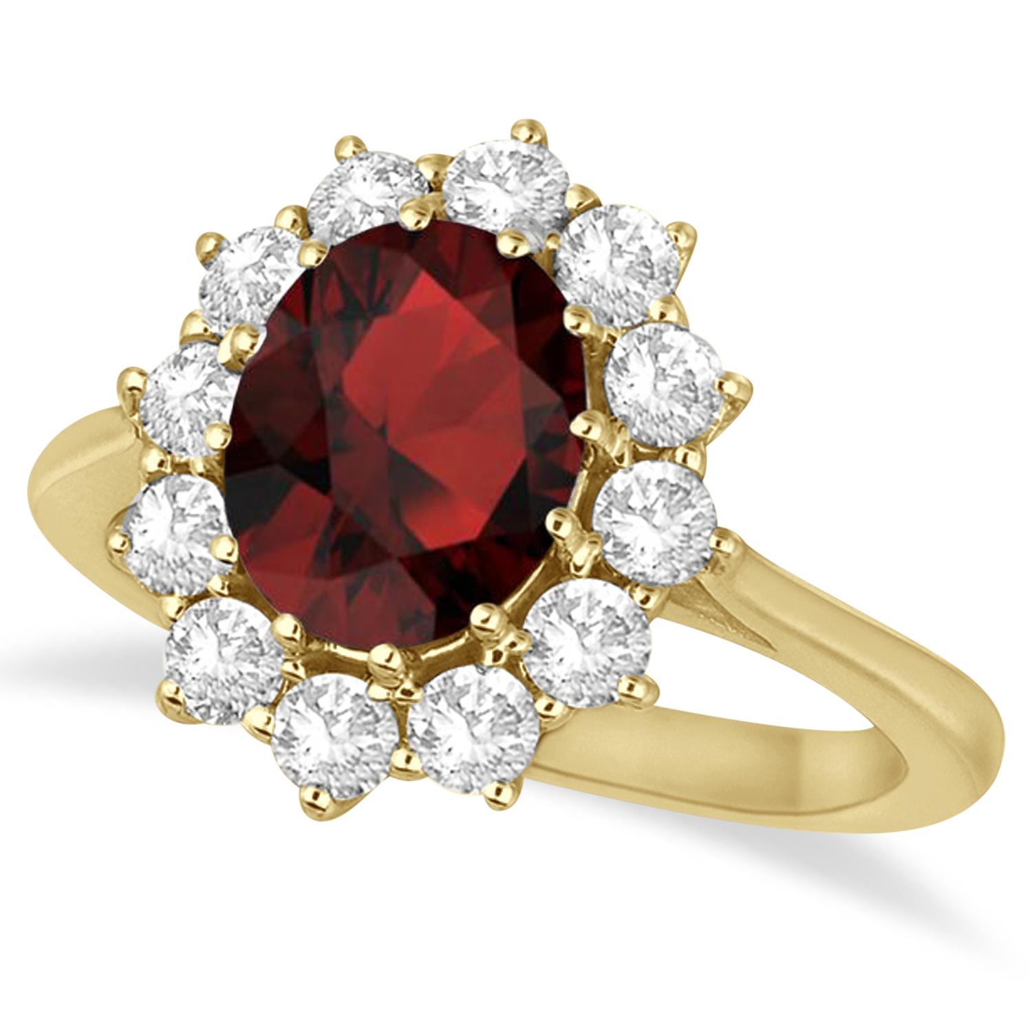 Oval Garnet and Diamond Ring 14k Yellow Gold (3.60ctw)
