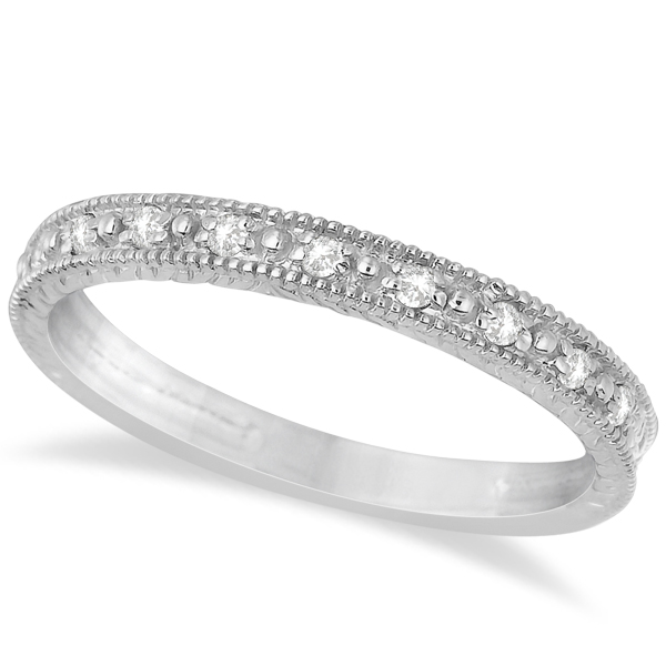 Milgrain Style Pave Set Diamond Ring in 14k White Gold (0.10 ct)