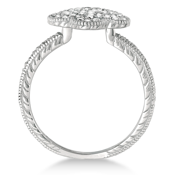 Five-Leaf Clover Shaped Diamond Right Hand Ring 14k White Gold (0.50ct)