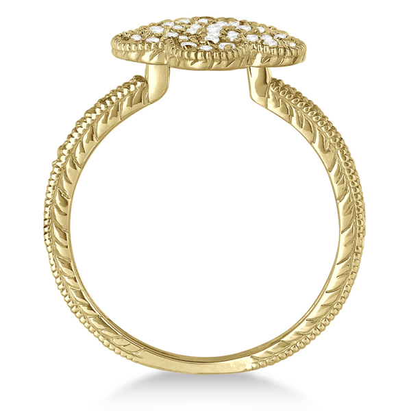 Five-Leaf Clover Shaped Diamond Right Hand Ring 14k Yellow Gold (0.50ct)