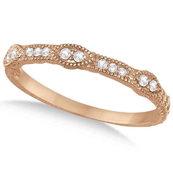 Pave Set Vintage Stacking Diamond Ring Band 14k Rose Gold (0.15ct)