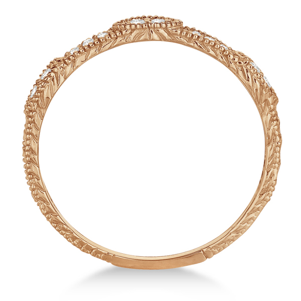 Pave Set Vintage Stacking Diamond Ring Band 14k Rose Gold (0.15ct)
