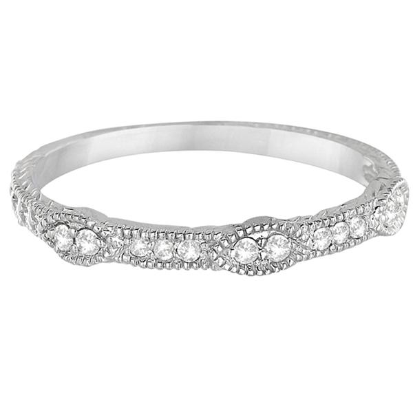 Pave Set Vintage Stacking Diamond Ring Band 14k White Gold (0.15ct)