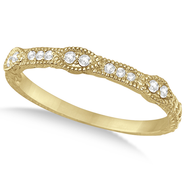 Pave Set Vintage Stacking Diamond Ring Band 14k Yellow Gold (0.15ct)
