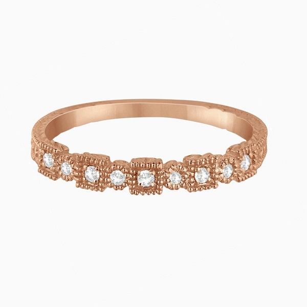 Vintage Milgrain Diamond Accented Ring in 14k Rose Gold 0.10ctw