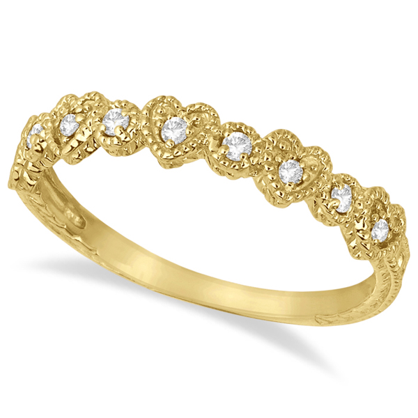 Pave Set Heart Design Diamond Ring Band 14k Yellow Gold (0.15ct)
