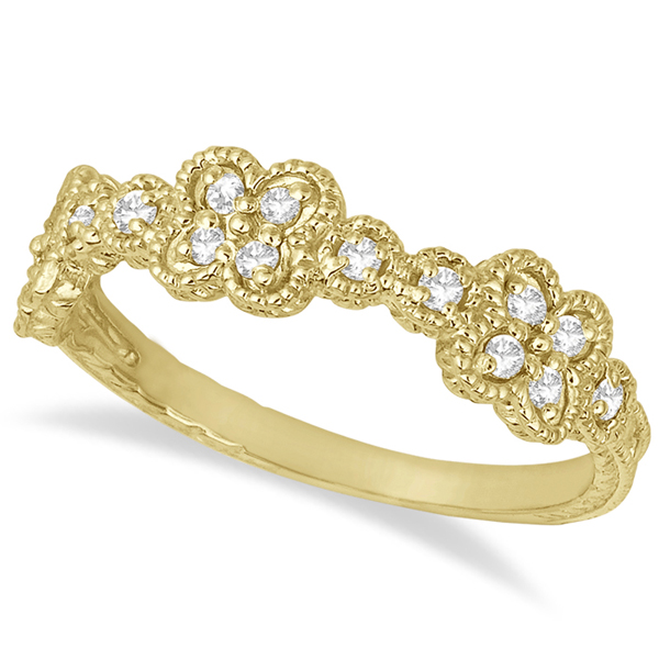 Four-Leaf Diamond Flower Ring 14k Yellow Gold (0.30ct)