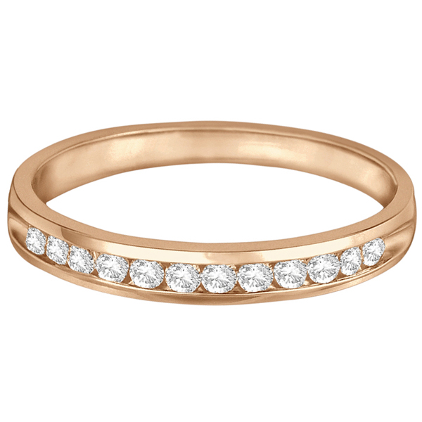 Channel-Set Diamond Anniversary Ring Band 14k Rose Gold (0.25ct)