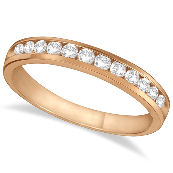 Channel-Set Diamond Anniversary Ring Band 14k Rose Gold (0.40ct)