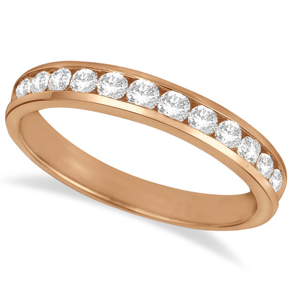 Channel-Set Diamond Anniversary Ring Band 14k Rose Gold (0.50ct)