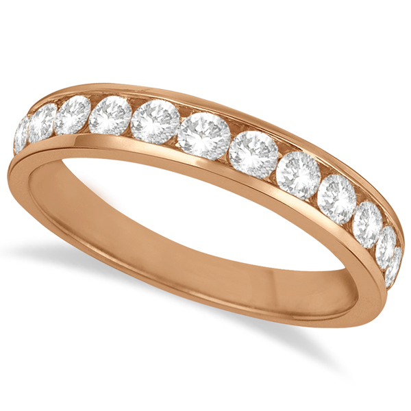Channel-Set Diamond Anniversary Ring Band 14k Rose Gold (0.75ct)