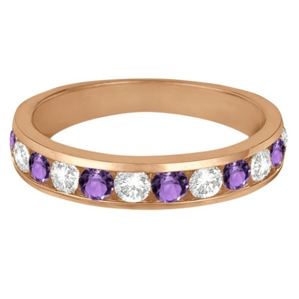 Channel-Set Amethyst & Diamond Ring Band 14k Rose Gold (1.20ct)